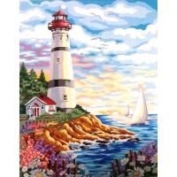 Белоснежный маяк. Картина по номерам 40х50