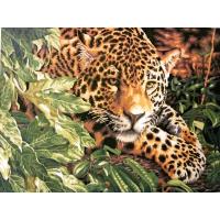 Гепард в листьях. Картина по номерам 40х50