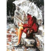 Девушка под зонтом. Картина по номерам 40х50