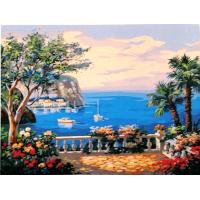 Вид из окна на лазурное море. Картина по номерам 40х50