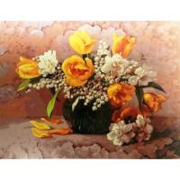 Ваза с тюльпанами. Картина по номерам 40х50