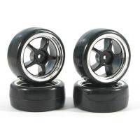 Колеса дрифт 1/10 - Fastrax 5-Spoke (V2 Tyre) 4шт - Chrome