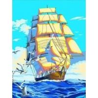 Картина по номерам Корабль и чайки 40х50