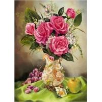 Картина по номерам Розы с фруктами 40х50