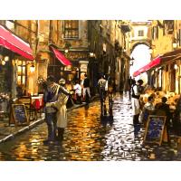 Картина по номерам Улочка с кафе 40х50