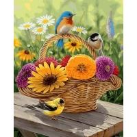 Картина по номерам Корзинка с цветами 40х50