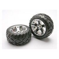 Tires &amp wheels, assembled, glued (All-Star chrome wheels, Anaconda tires, foam inserts) (nitro f
