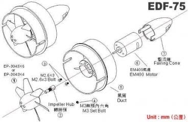 Импеллер EDF-75, c коллекторным мотором EM 400, 1шт., GWS