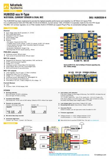 Manual Matek HUBOSD eco H Type w/STOSD8